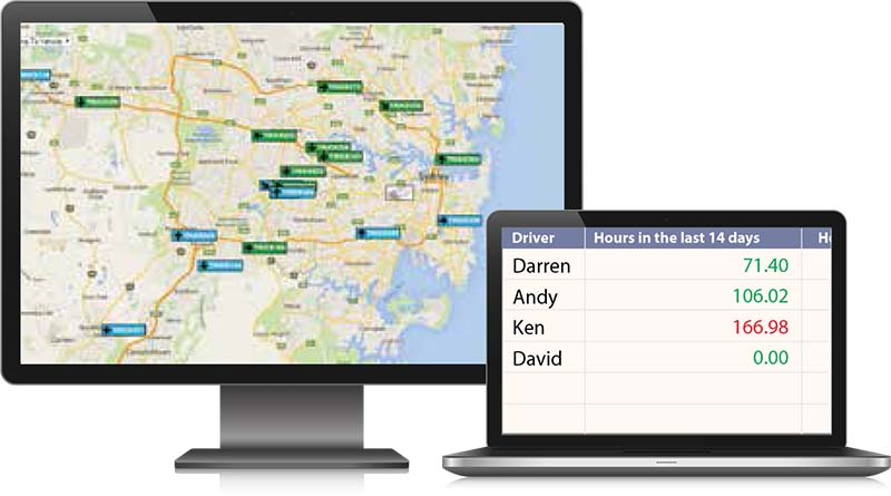 Live GPS tracking on map and fatigue management for truck drivers
